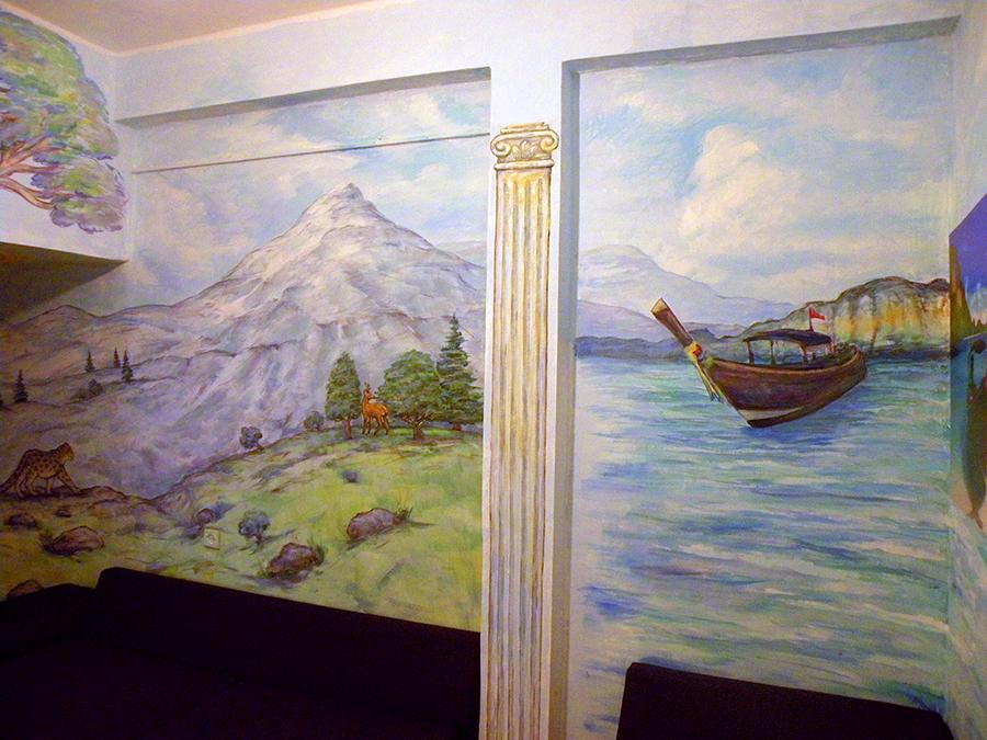 ציור קיר לסלון נוף עם נמר