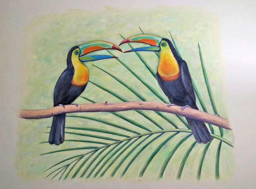 ציור קיר לחדר שינה של שתי ציפורים טרופיים