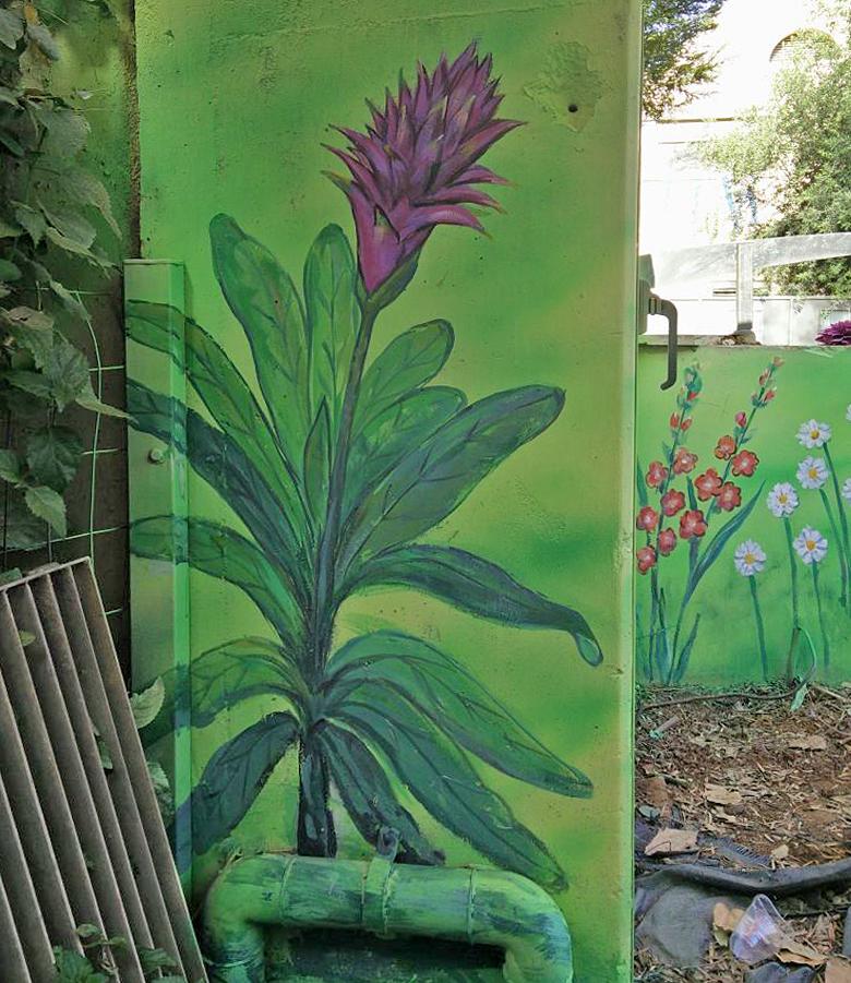 ציור של פרחים בגינת הבית