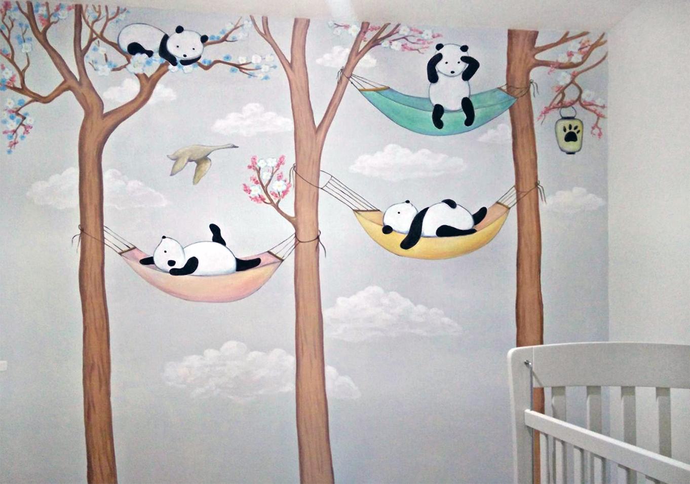 ציור קיר פנדה ועיצוב חדרי תינוקות