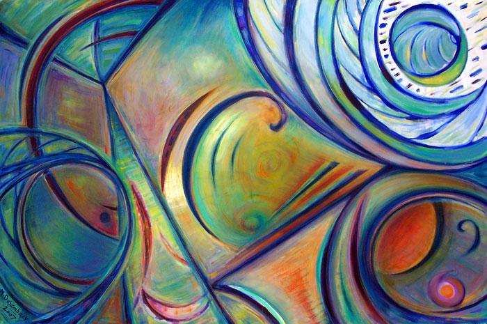תמונה שמן על בד Blue-Yellow Abstract