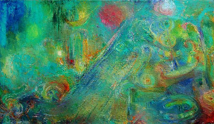 תמונה שמן על בד Green Abstract
