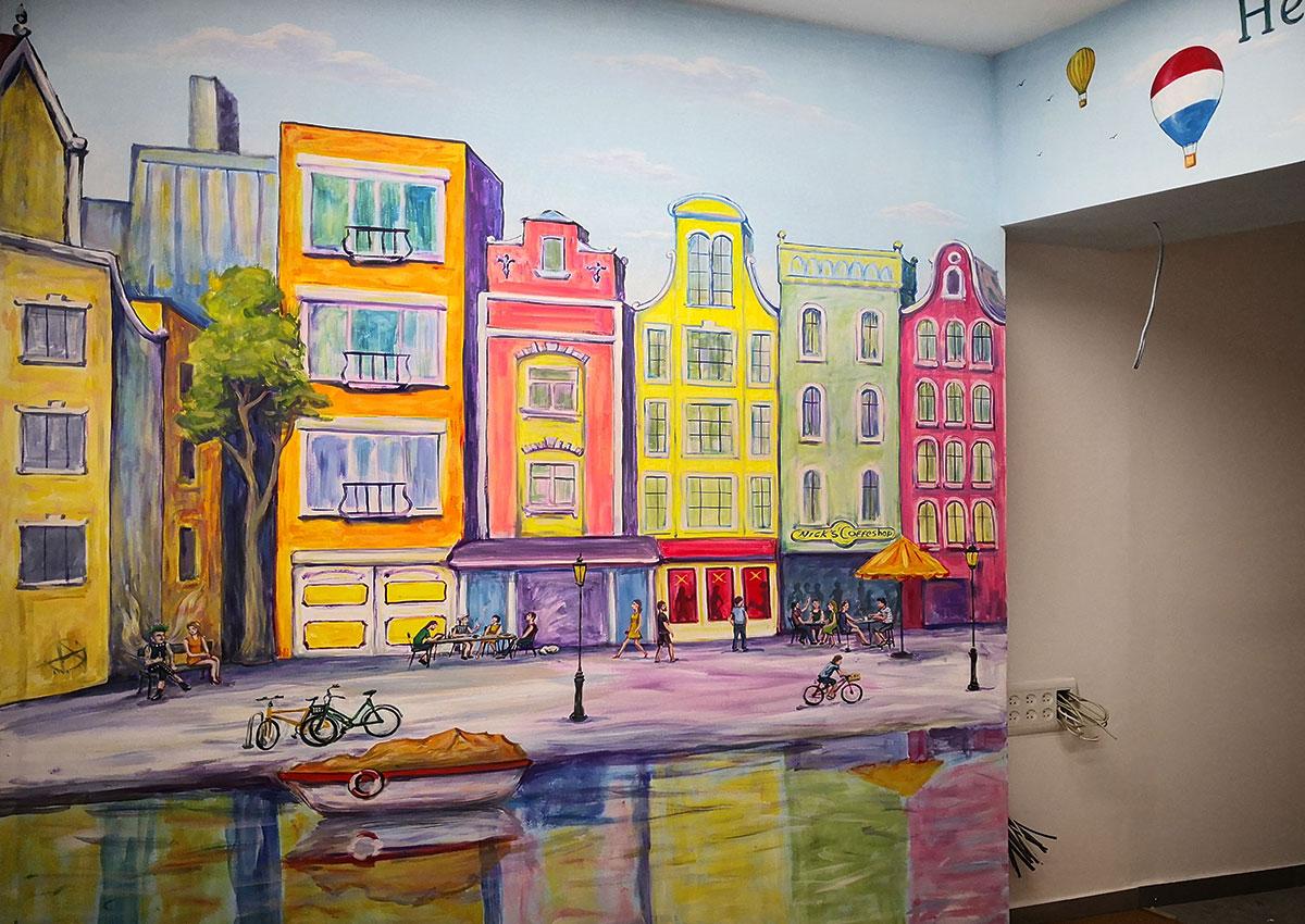 ציור קיר של רחוב באמסטרדם לחנות מוצרי טבק