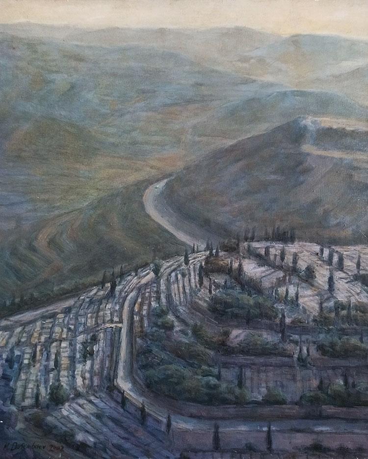 תמונה שמן על בד - נוף הרי ירושלים