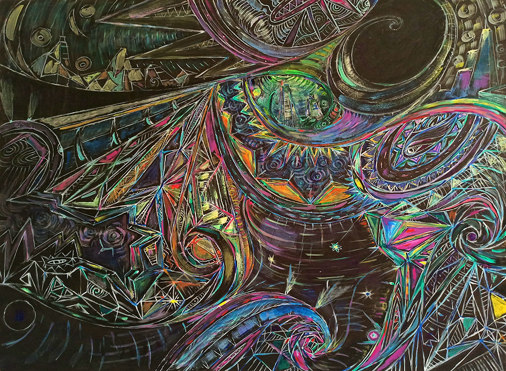 ציור אבסטרקט צבעוני