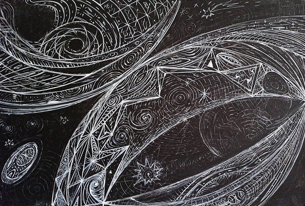 ציור אבסטרקט שחור לבן