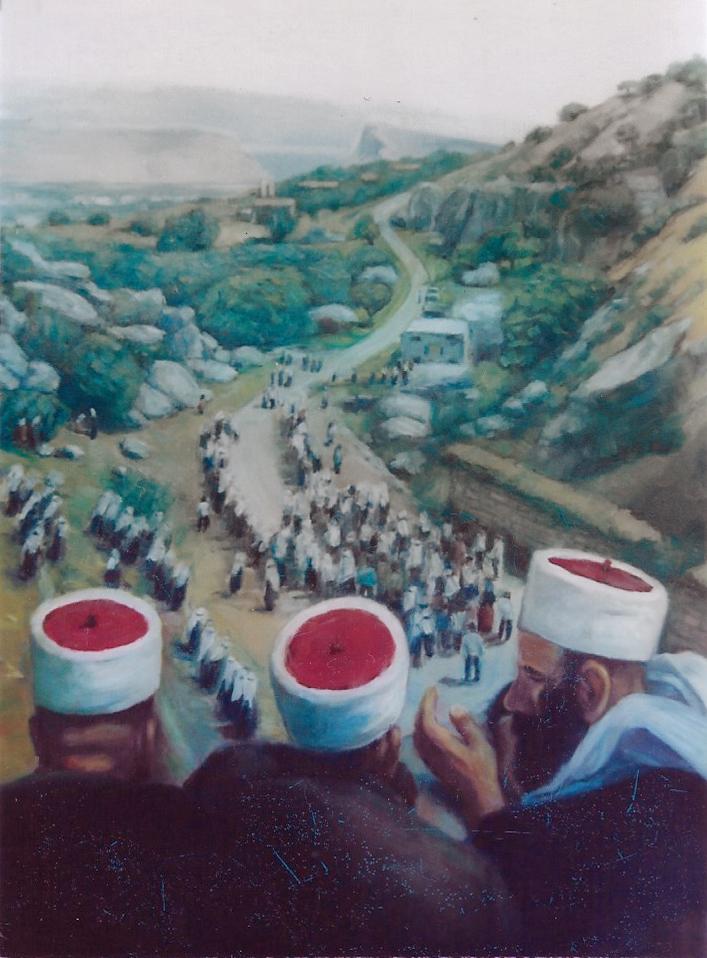 תמונת שמן על בד - הלוויה דרוזית