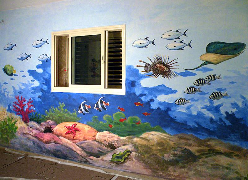 ציורי קיר אלמוגים ודגים לילדים