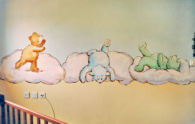 ציורי קיר שלושה דובים משחקים בין עננים
