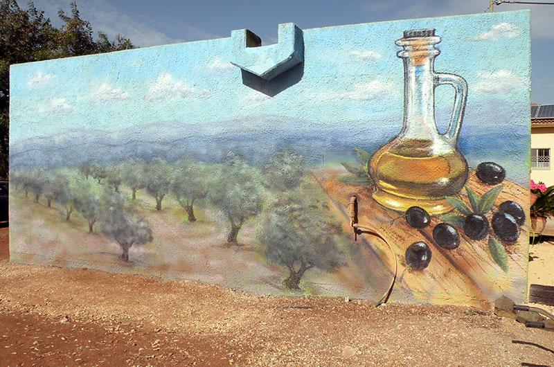ציורי קיר קנקן שמן זית ועצים