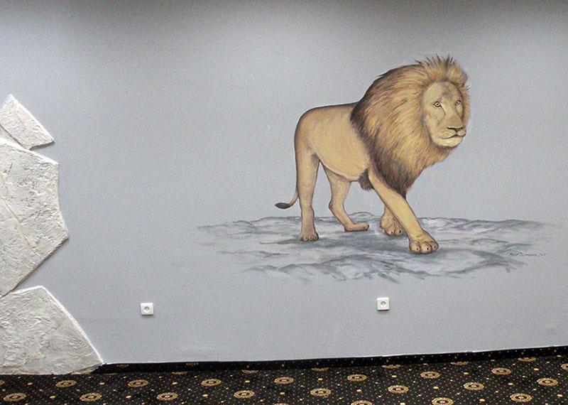 ציור קיר של אריה