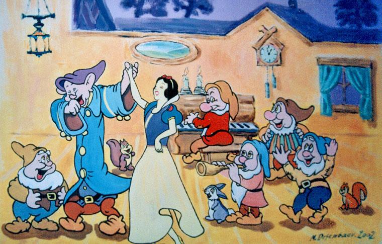 ציורי קיר שלגיה ושבעת הגמדים רוקדים
