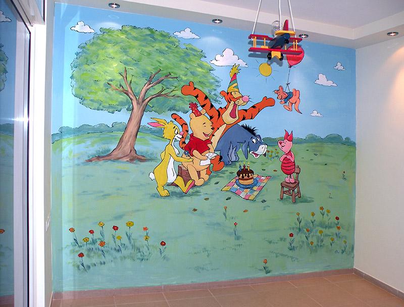ציורי קיר פו הדוב ועוגה