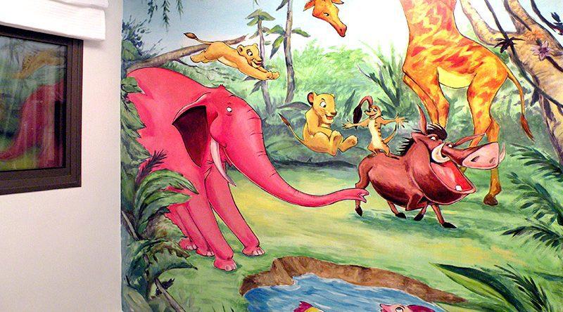 ציורי קיר פיל ודגים ממלך האריות