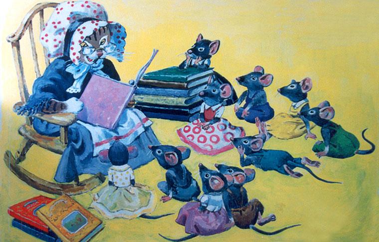 ציורי קיר חתולה קוראת בספר לעכברים