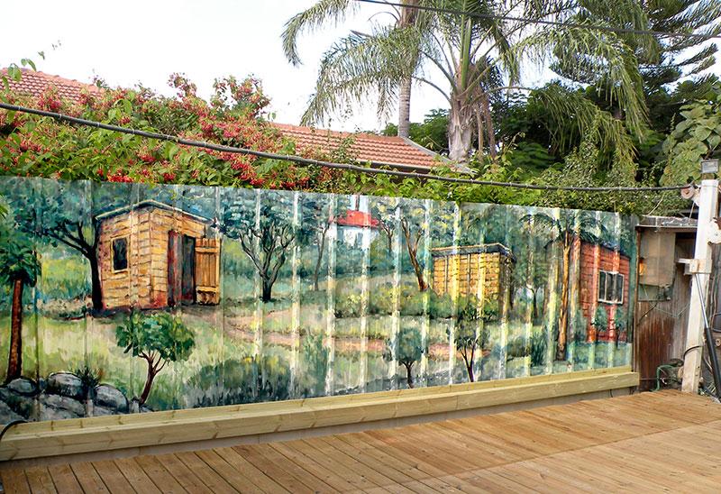 ציורי קיר של נוף בחצר הבית