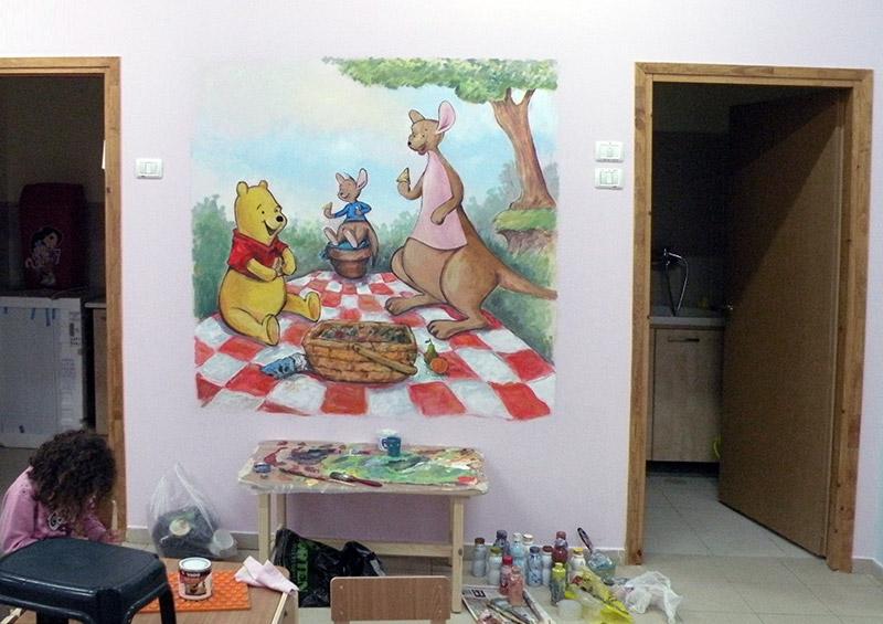 ציורי קיר פו הדוב וחבריו בפיקניק לגן ילדים