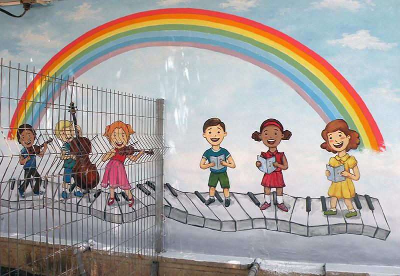 ציורי קיר ילדים שרים לגן ילדים
