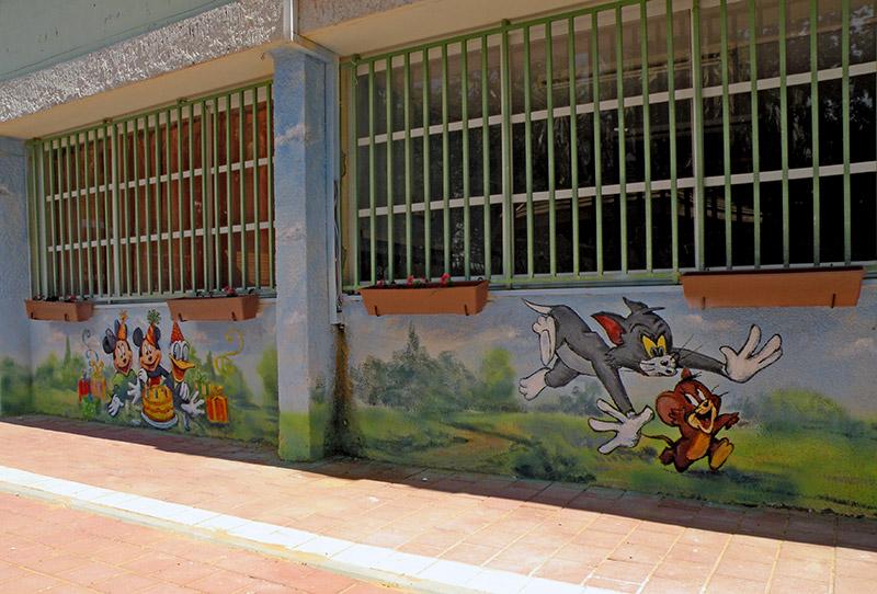 ציורי קיר טום וג'רי לגן ילדים