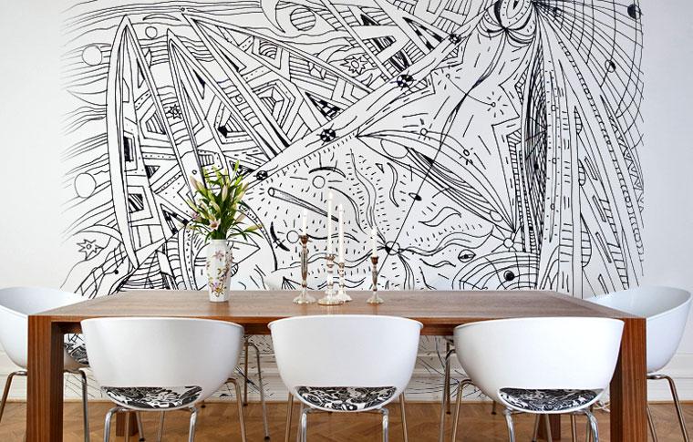 טפטים מיוחדים נוף אבסטרקטי בחדר אוכל