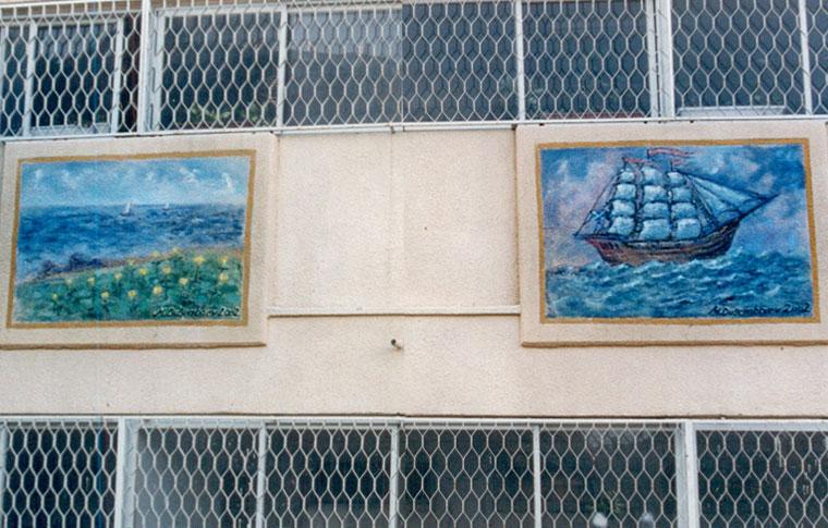 ציורי קיר ספינות על בלטות