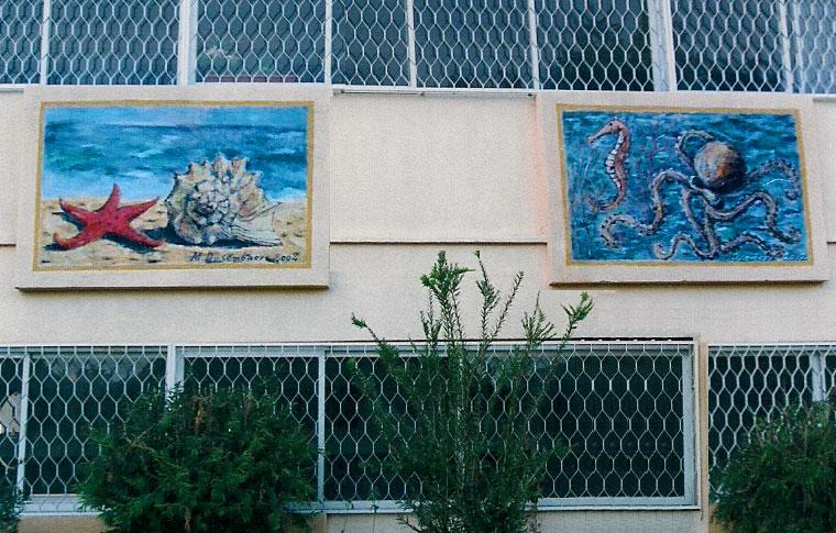 ציורי קיר סוסון ים, צדפה וכוכב ים