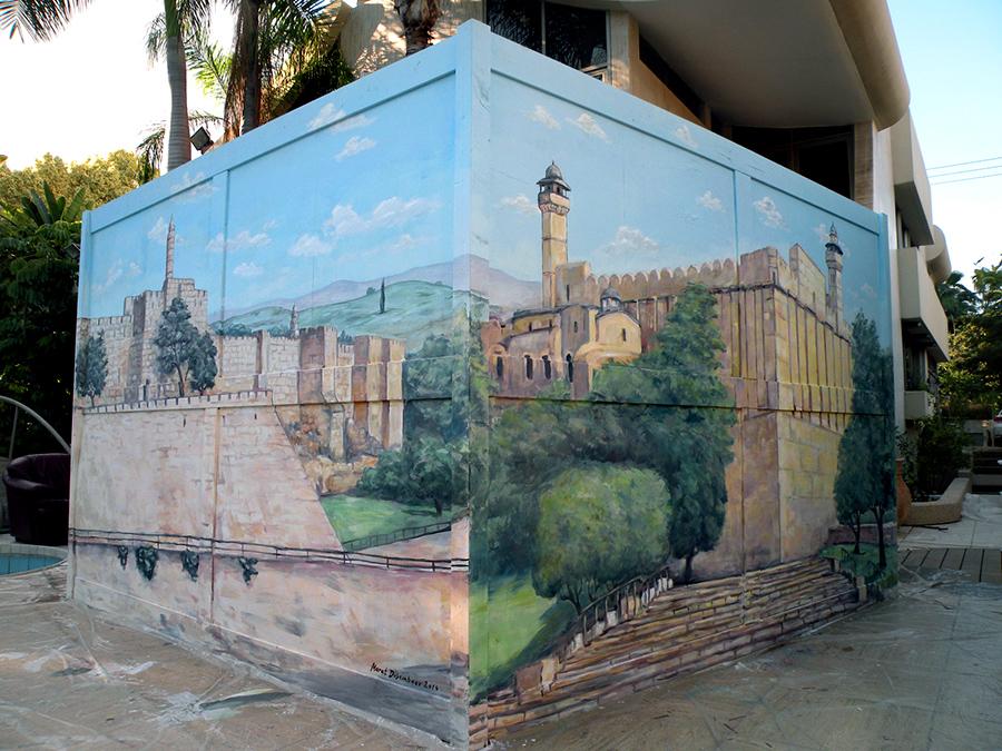 ציורים על סוכה - מגדל דוד ומערת המכפלה
