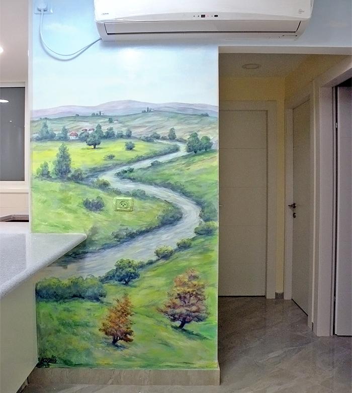 ציור קיר לבית של נוף עם נחל