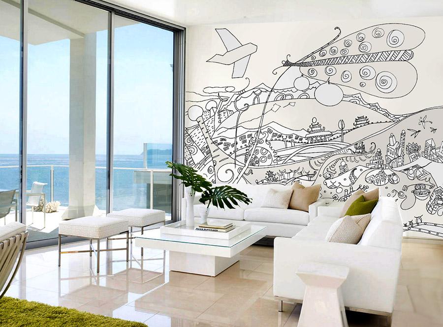טפט אבסטרקטי בסלון עם פרפר ומטוס