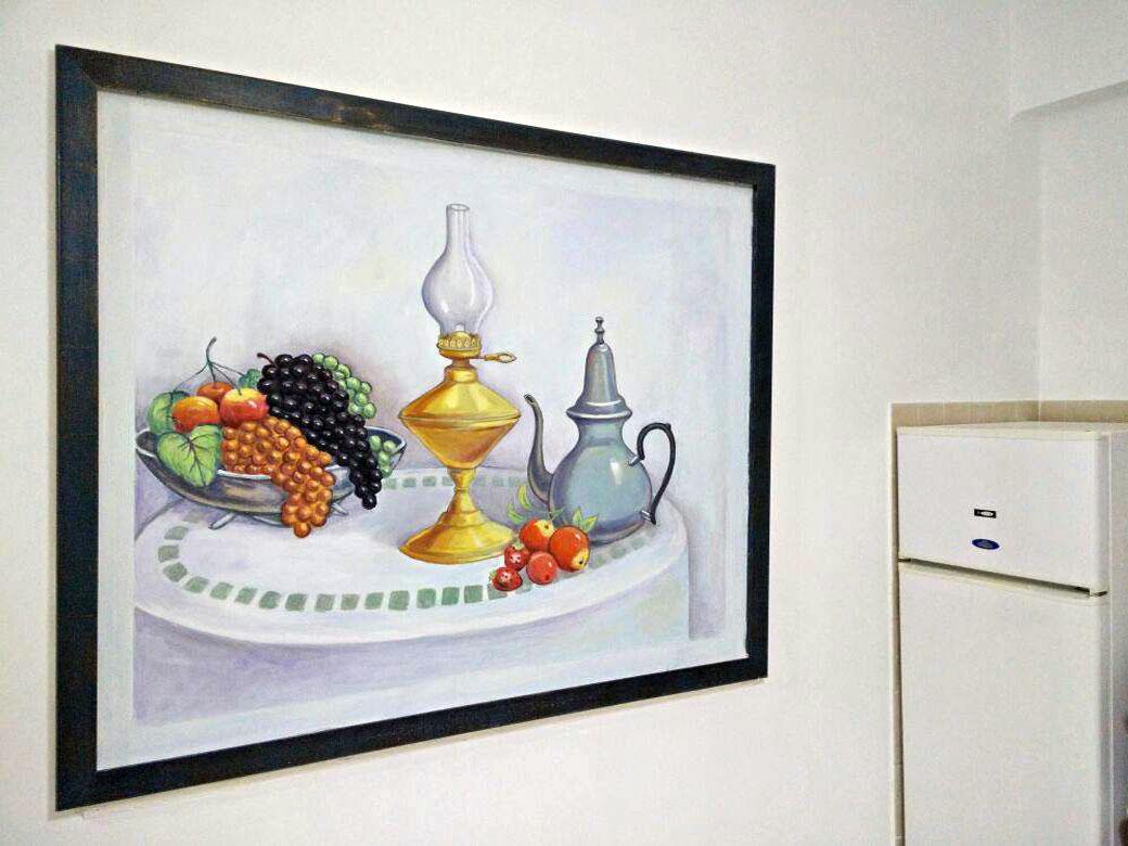 ציור על קיר במטבח של טבע דומם