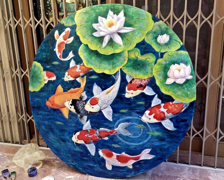 ציור של דגים בגינה