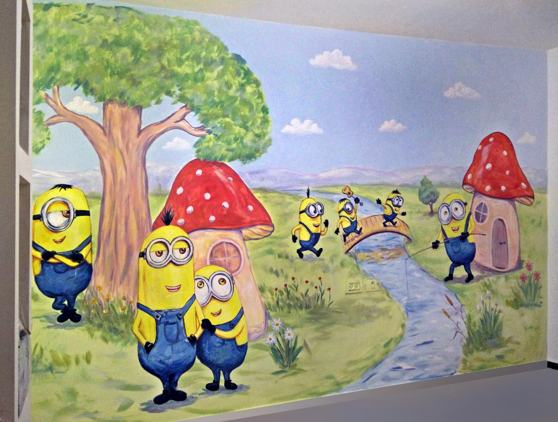 ציור קיר לילדים מסירטון של מיניונים