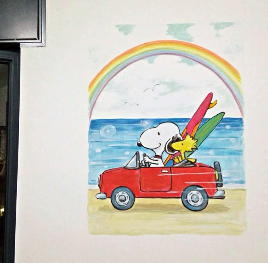 סנופים באוטו - ציור לחדר ילדים