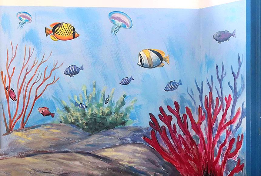ציורי קיר של עולם תת ימי