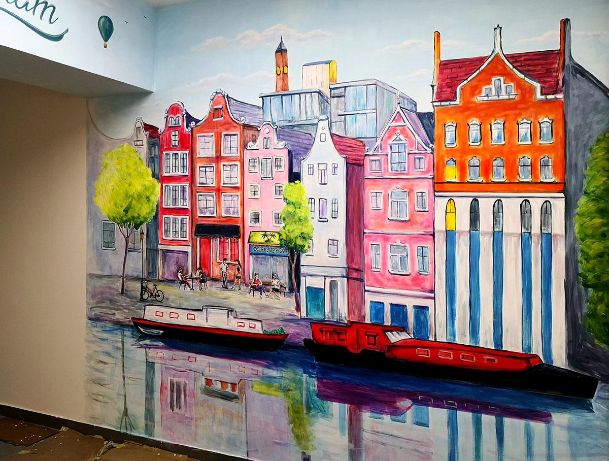 ציור קיר של רחוב באמסטרדם לחנות טבק
