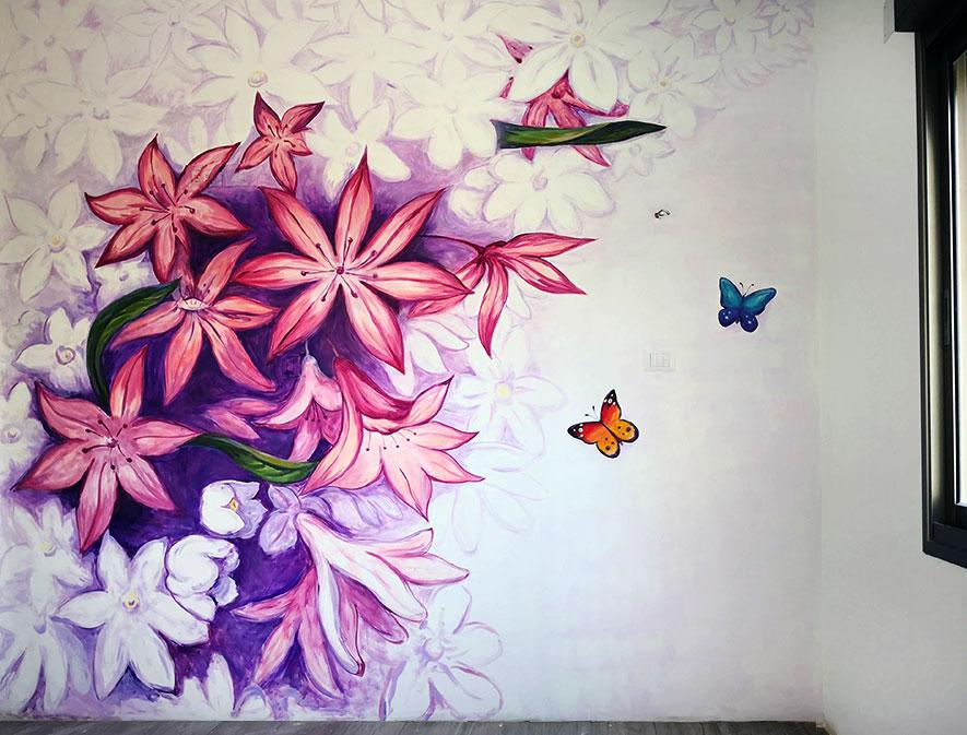 ציור של פרחים בחדר ילדים
