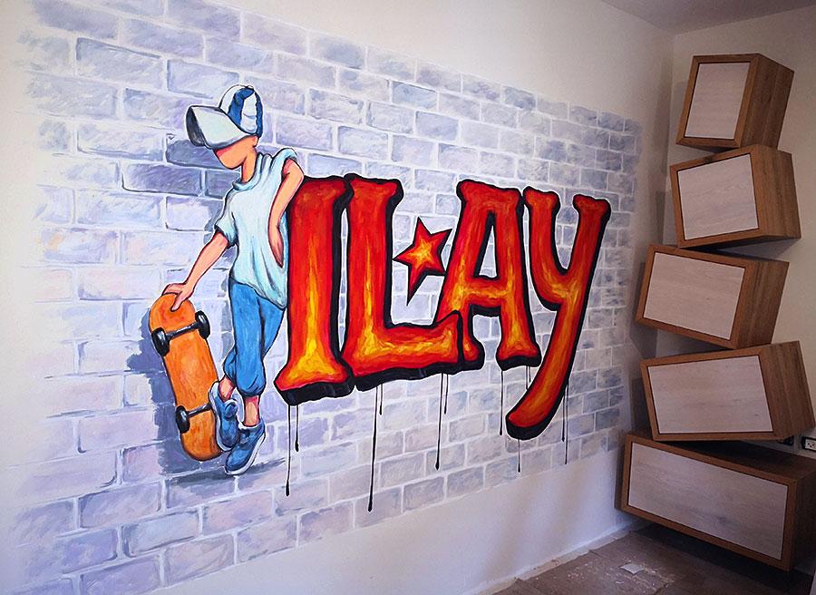 עיצוב וציורי קיר בחדר של אילי